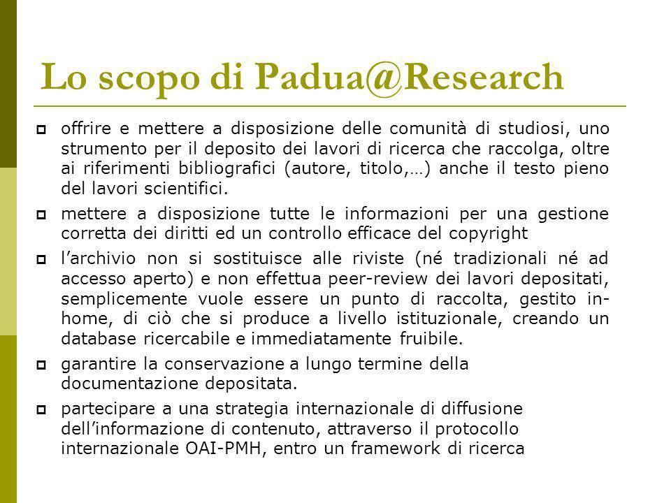 Lo scopo di Padua@Research offrire e mettere a disposizione delle comunità di studiosi, uno strumento per il deposito dei lavori di ricerca che raccolga, oltre ai riferimenti bibliografici (autore, titolo,…) anche il testo pieno del lavori scientifici.