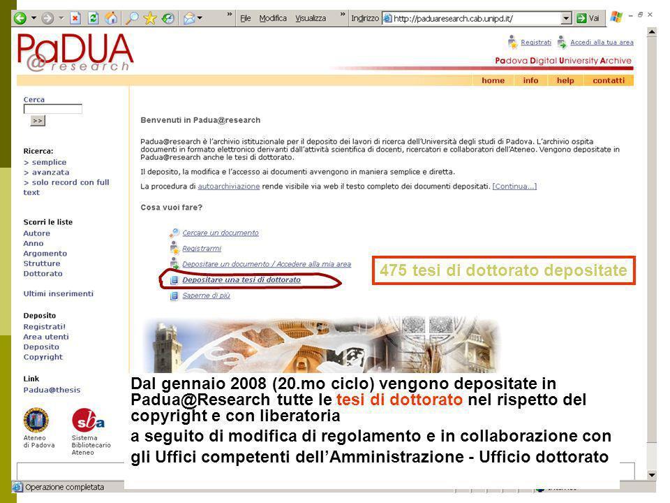475 tesi di dottorato depositate Dal gennaio 2008 (20.mo ciclo) vengono depositate in Padua@Research tutte le tesi di dottorato nel rispetto del copyright e con liberatoria a seguito di modifica di regolamento e in collaborazione con gli Uffici competenti dellAmministrazione - Ufficio dottorato