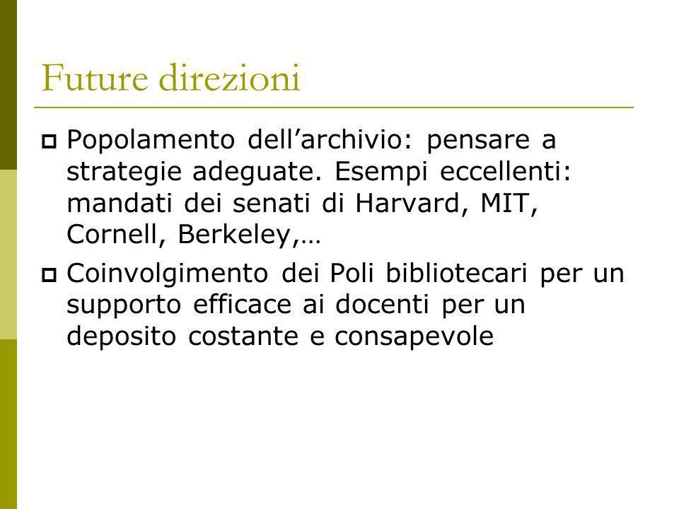 Future direzioni Popolamento dellarchivio: pensare a strategie adeguate.