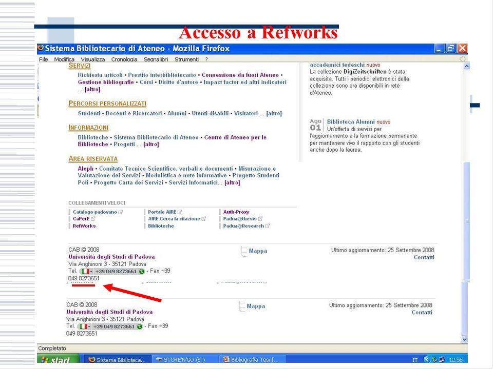 Accesso a Refworks