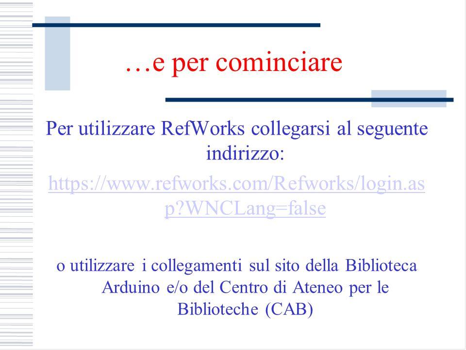 …e per cominciare Per utilizzare RefWorks collegarsi al seguente indirizzo: https://www.refworks.com/Refworks/login.as p?WNCLang=false o utilizzare i