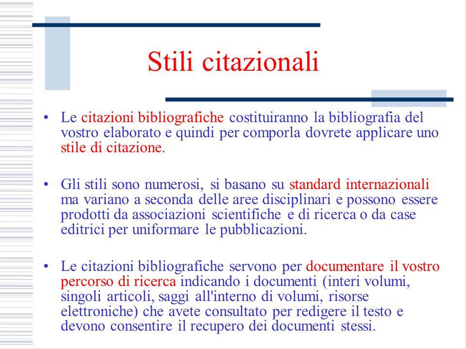 Stili citazionali Le citazioni bibliografiche costituiranno la bibliografia del vostro elaborato e quindi per comporla dovrete applicare uno stile di