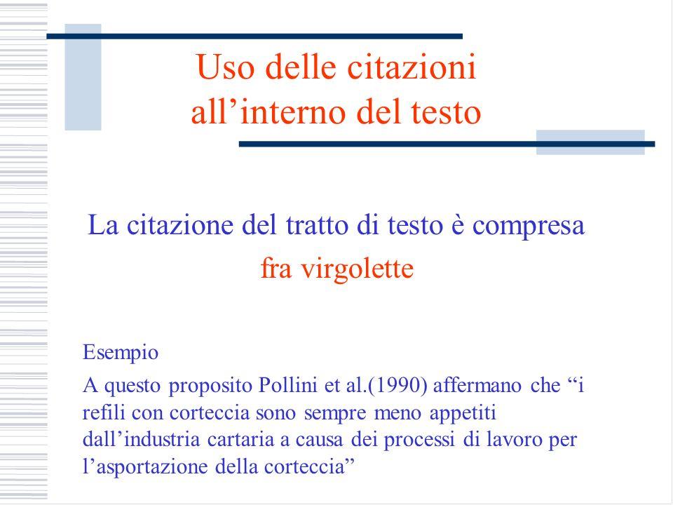 Uso delle citazioni allinterno del testo La citazione del tratto di testo è compresa fra virgolette Esempio A questo proposito Pollini et al.(1990) af