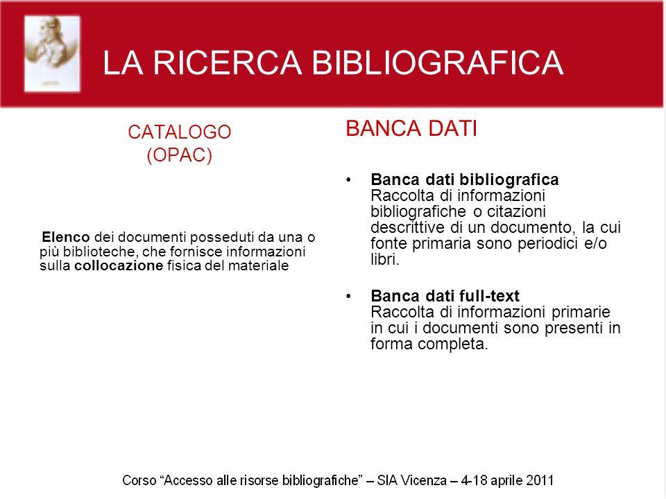 LA RICERCA BIBLIOGRAFICA CATALOGO (OPAC) Elenco dei documenti posseduti da una o più biblioteche, che fornisce informazioni sulla collocazione fisica
