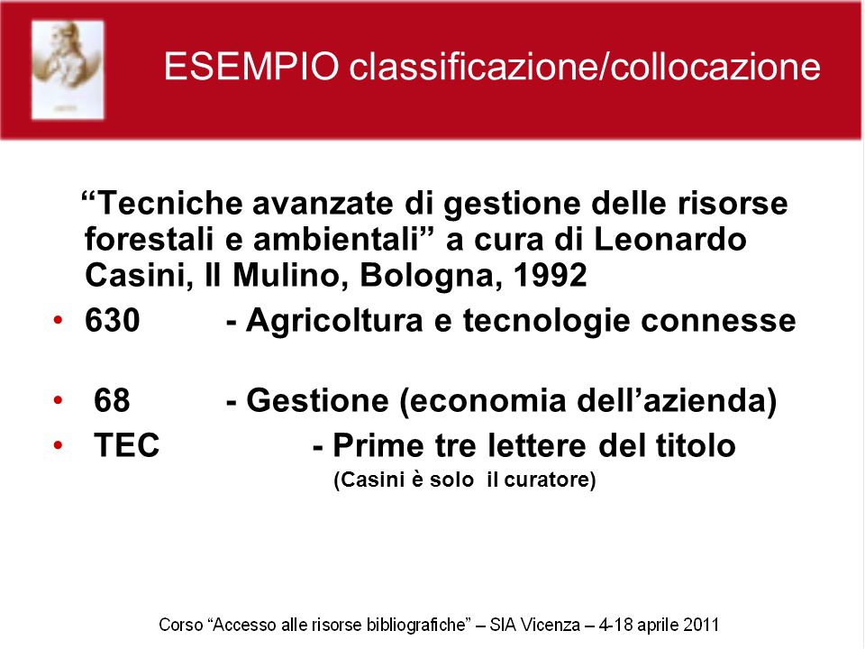 ESEMPIO classificazione/collocazione Tecniche avanzate di gestione delle risorse forestali e ambientali a cura di Leonardo Casini, Il Mulino, Bologna,