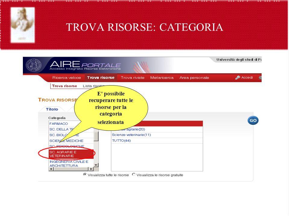TROVA RISORSE: CATEGORIA E' possibile recuperare tutte le risorse per la categoria selezionata