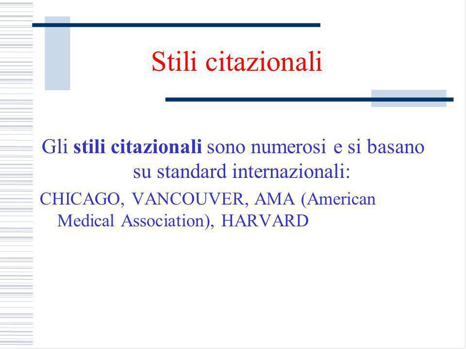 Stili citazionali Gli stili citazionali sono numerosi e si basano su standard internazionali: CHICAGO, VANCOUVER, AMA (American Medical Association), HARVARD
