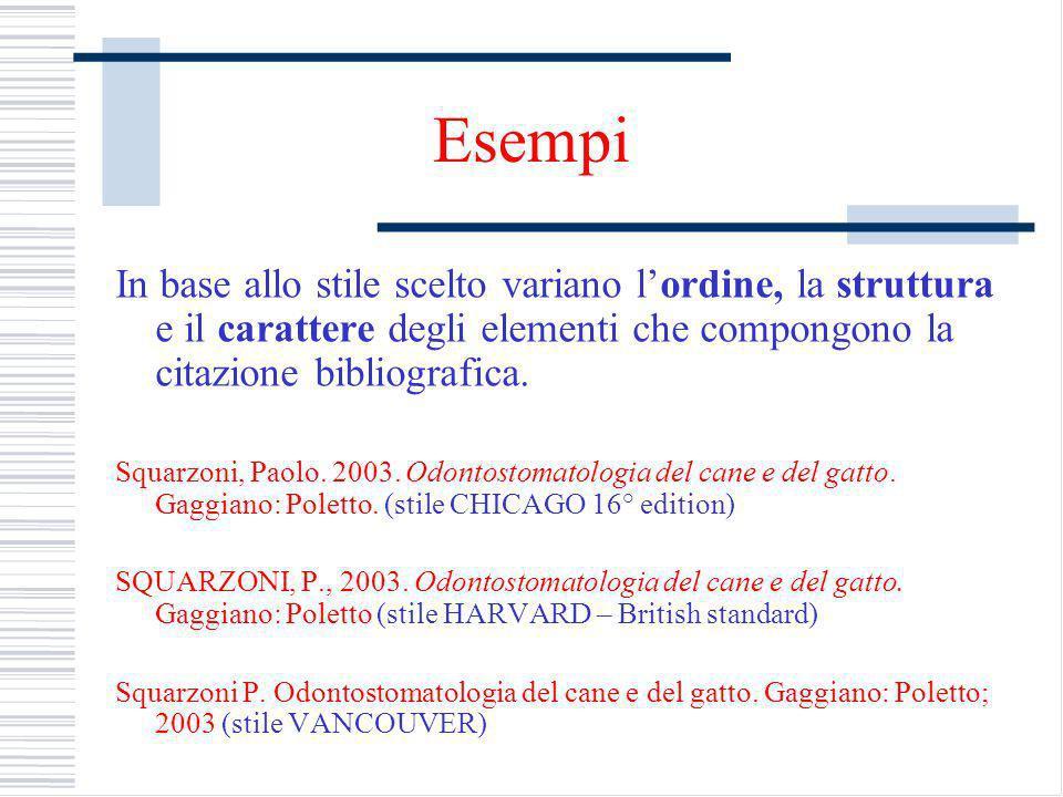 Esempi In base allo stile scelto variano lordine, la struttura e il carattere degli elementi che compongono la citazione bibliografica.