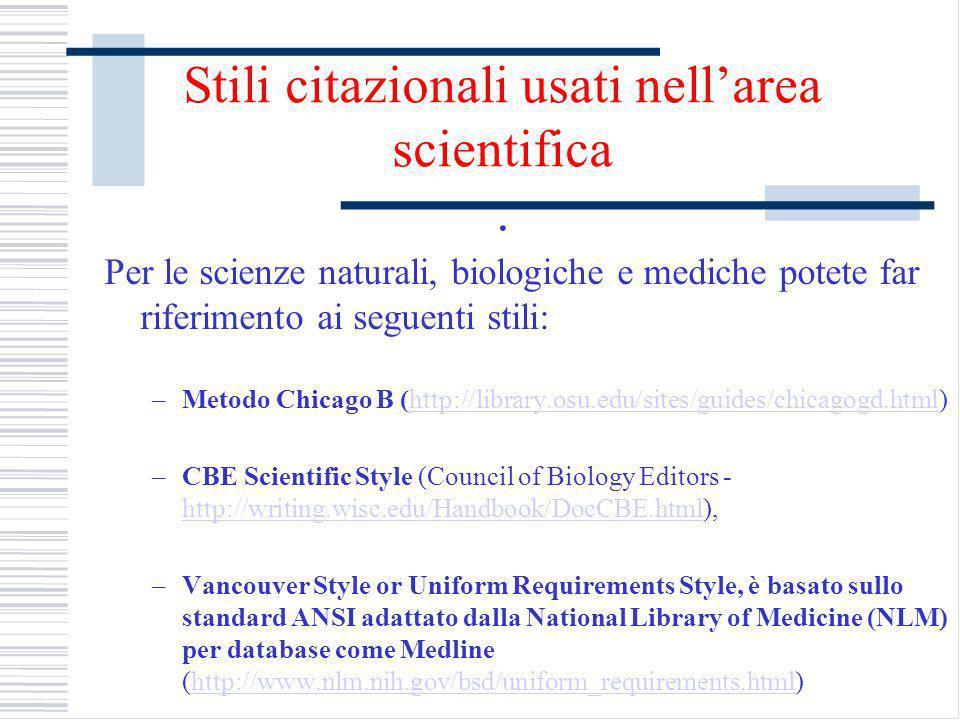 Stili citazionali usati nellarea scientifica.