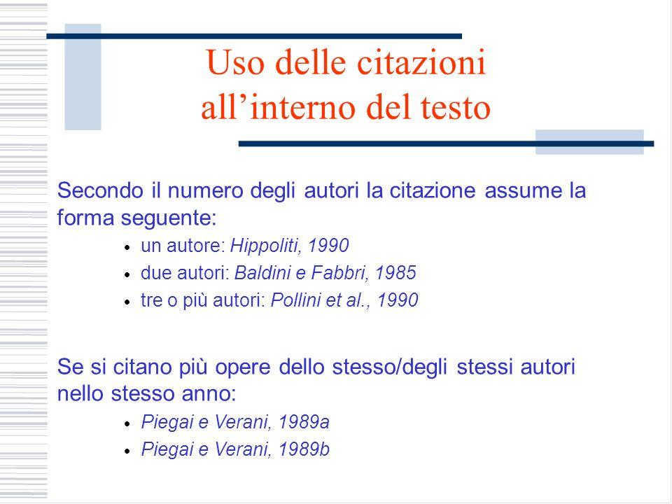 Uso delle citazioni allinterno del testo Secondo il numero degli autori la citazione assume la forma seguente: un autore: Hippoliti, 1990 due autori: