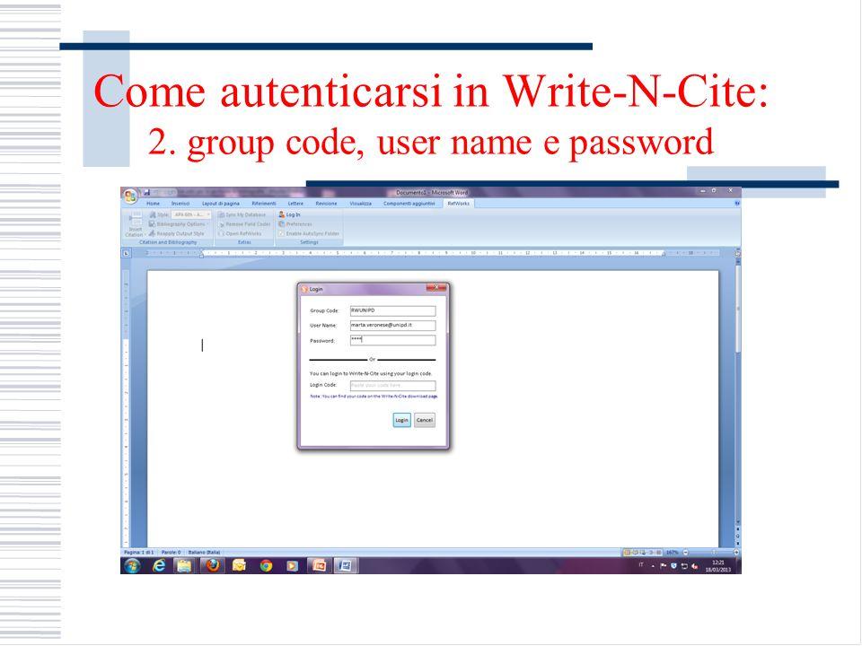 Come autenticarsi in Write-N-Cite: 2. group code, user name e password