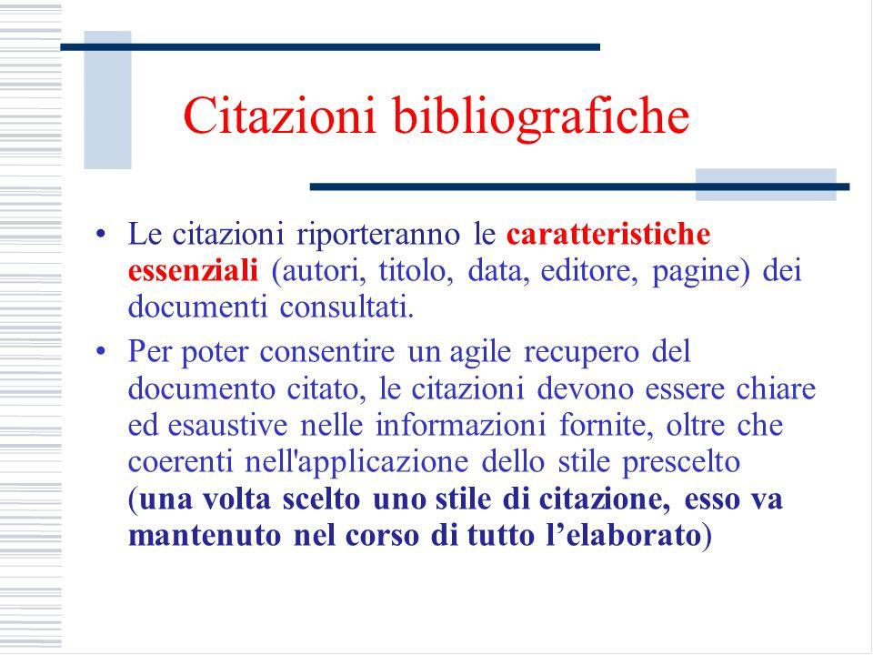 Citazioni bibliografiche Le citazioni riporteranno le caratteristiche essenziali (autori, titolo, data, editore, pagine) dei documenti consultati. Per