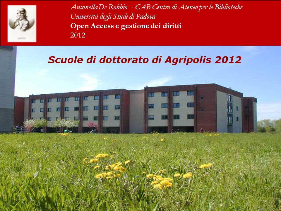 Scuole di dottorato di Agripolis 2012 Antonella De Robbio - CAB Centro di Ateneo per le Biblioteche Università degli Studi di Padova Open Access e gestione dei diritti 2012