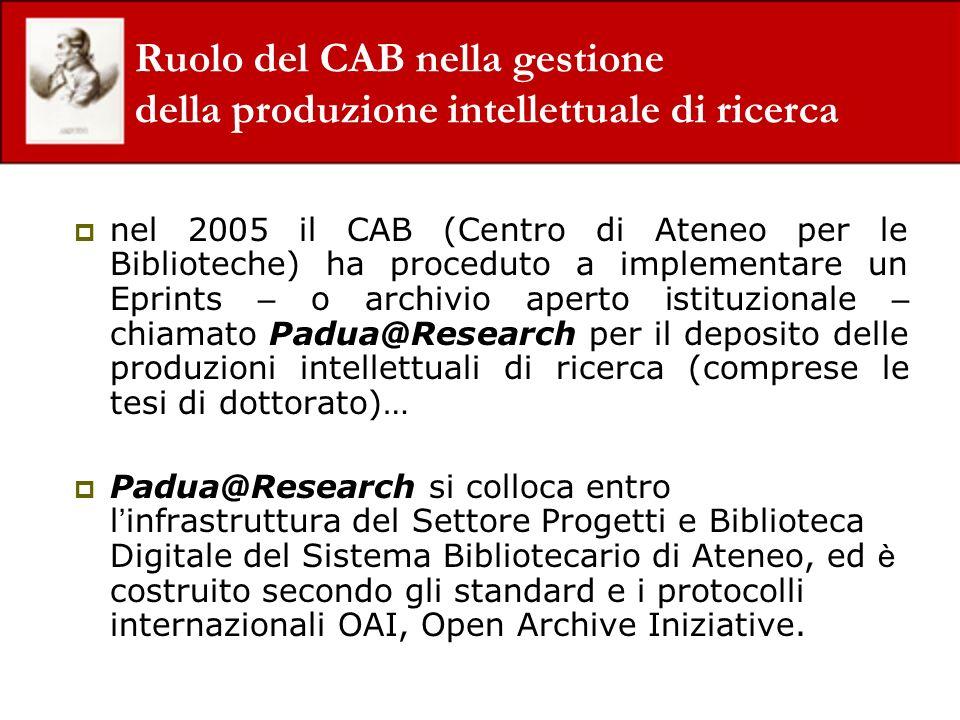 Ruolo del CAB nella gestione della produzione intellettuale di ricerca nel 2005 il CAB (Centro di Ateneo per le Biblioteche) ha proceduto a implementa