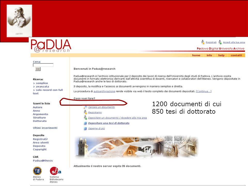 1200 documenti di cui 850 tesi di dottorato