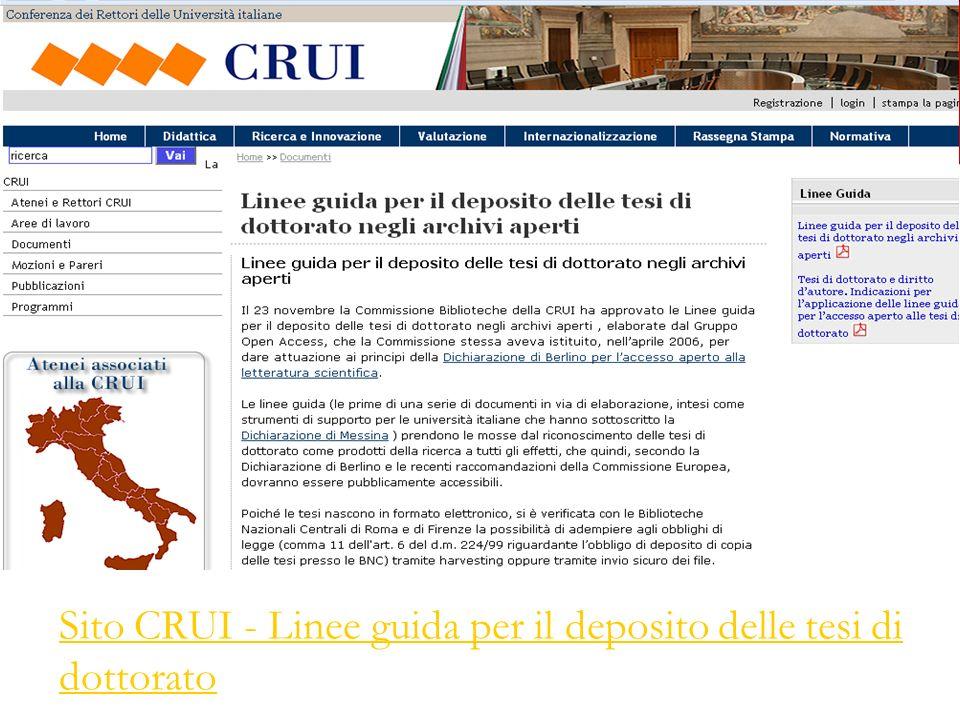 Sito CRUI - Linee guida per il deposito delle tesi di dottorato