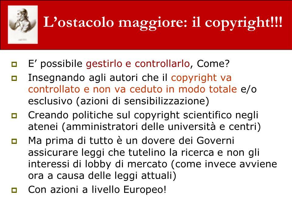 Lostacolo maggiore: il copyright!!! E possibile gestirlo e controllarlo, Come? Insegnando agli autori che il copyright va controllato e non va ceduto