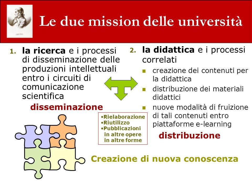 Le due mission delle università 1. la ricerca e i processi di disseminazione delle produzioni intellettuali entro i circuiti di comunicazione scientif