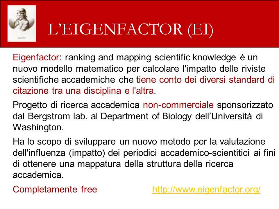 LEIGENFACTOR (EI) Eigenfactor: ranking and mapping scientific knowledge è un nuovo modello matematico per calcolare l impatto delle riviste scientifiche accademiche che tiene conto dei diversi standard di citazione tra una disciplina e l altra.