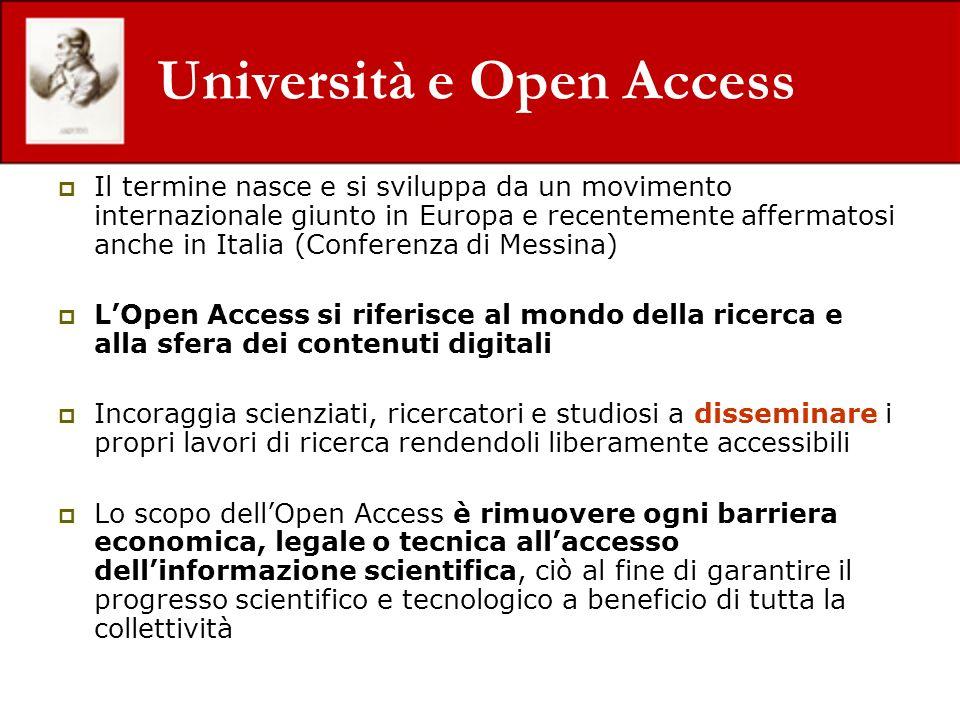 Università e Open Access Il termine nasce e si sviluppa da un movimento internazionale giunto in Europa e recentemente affermatosi anche in Italia (Co