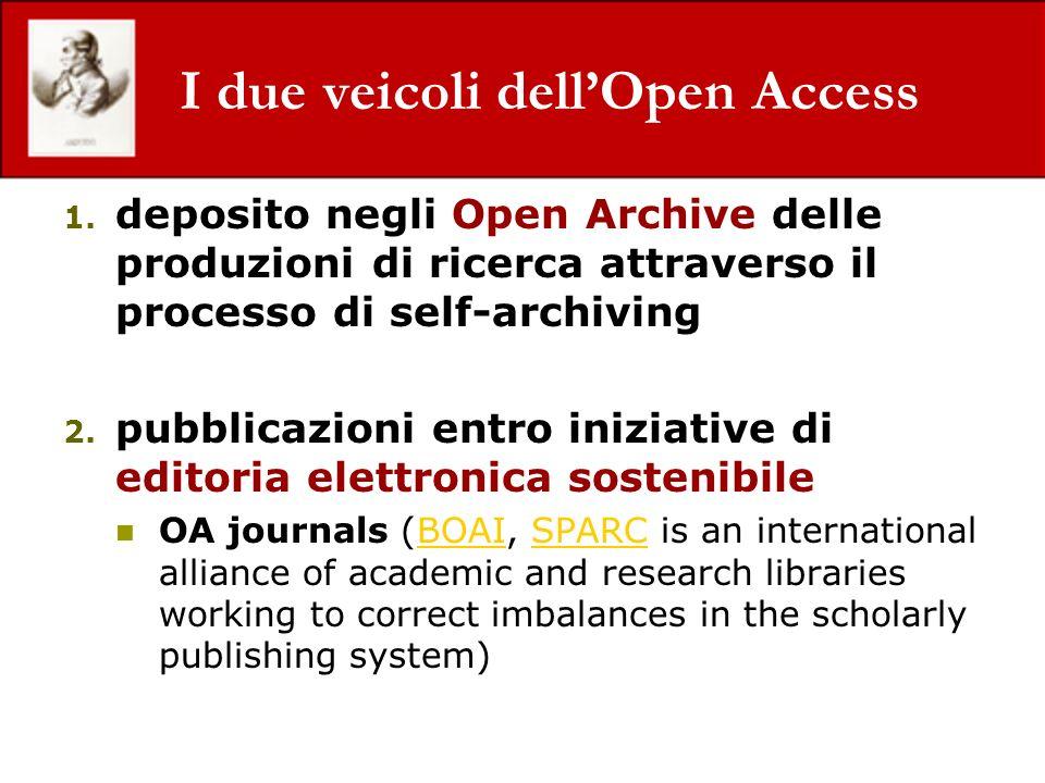 I due veicoli dellOpen Access 1. deposito negli Open Archive delle produzioni di ricerca attraverso il processo di self-archiving 2. pubblicazioni ent