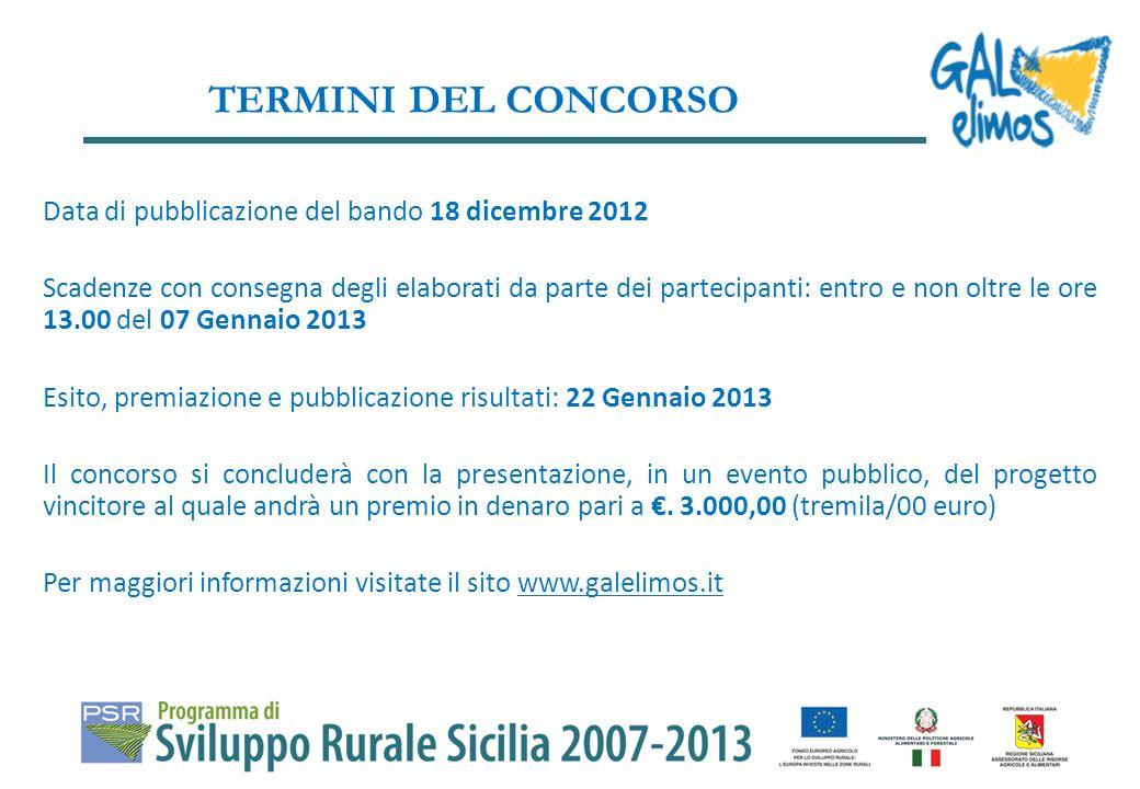 Data di pubblicazione del bando 18 dicembre 2012 Scadenze con consegna degli elaborati da parte dei partecipanti: entro e non oltre le ore 13.00 del 0