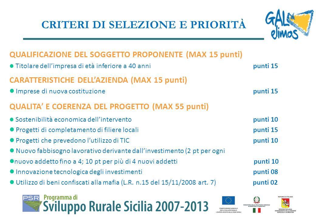 Possono essere presentati progetti con un importo massimo di 133.333,33 euro nellarco di tre esercizi finanziari con unintensità di aiuto pari al 75%, ma il contributo concesso non può comunque superare i 100.000,00 euro.