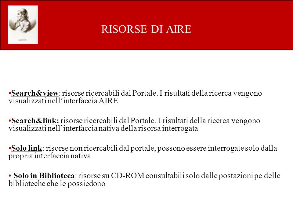 Search&view: risorse ricercabili dal Portale.