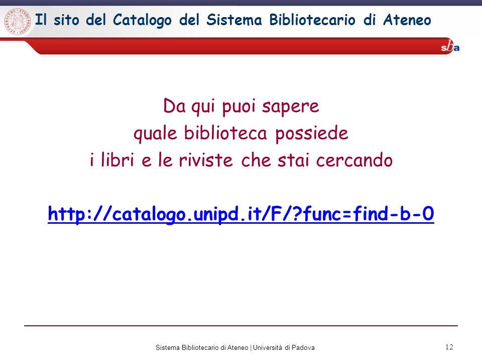 13 Sistema Bibliotecario di Ateneo | Università di Padova + Hai bisogno di maggiori informazioni.
