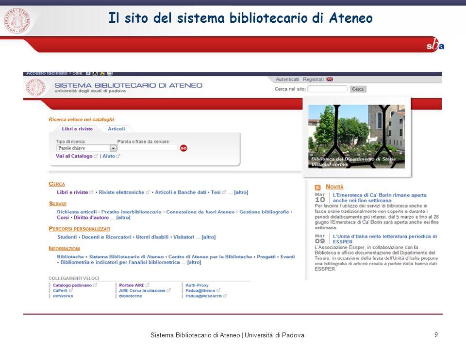 10 Il sito del Sistema Bibliotecario di Ateneo Hai la possibilità di accedere ai servizi da più link.
