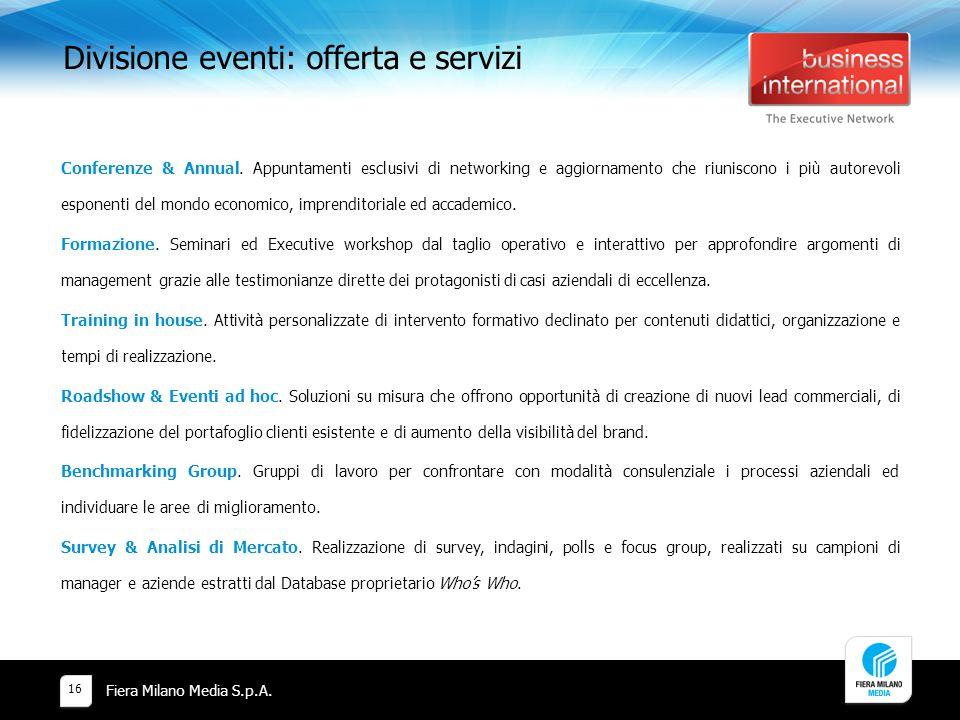Divisione eventi: offerta e servizi Fiera Milano Media S.p.A.