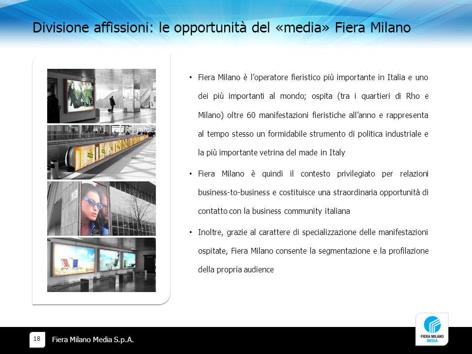 Divisione affissioni: le opportunità del «media» Fiera Milano Fiera Milano Media S.p.A.