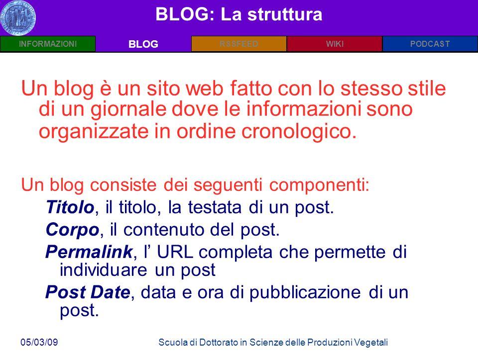 INFORMAZIONIPODCASTBLOGWIKIRSSFEED 05/03/09Scuola di Dottorato in Scienze delle Produzioni Vegetali BLOG: La struttura BLOG Un blog è un sito web fatto con lo stesso stile di un giornale dove le informazioni sono organizzate in ordine cronologico.
