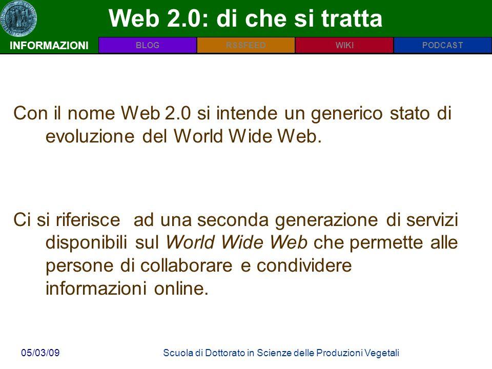 INFORMAZIONIPODCASTBLOGWIKIRSSFEED 05/03/09Scuola di Dottorato in Scienze delle Produzioni Vegetali Web 2.0: di che si tratta INFORMAZIONI Con il nome Web 2.0 si intende un generico stato di evoluzione del World Wide Web.