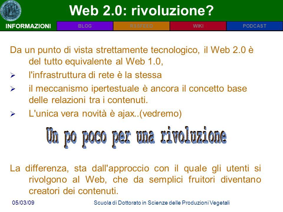 INFORMAZIONIPODCASTBLOGWIKIRSSFEED 05/03/09Scuola di Dottorato in Scienze delle Produzioni Vegetali Web 2.0: rivoluzione.