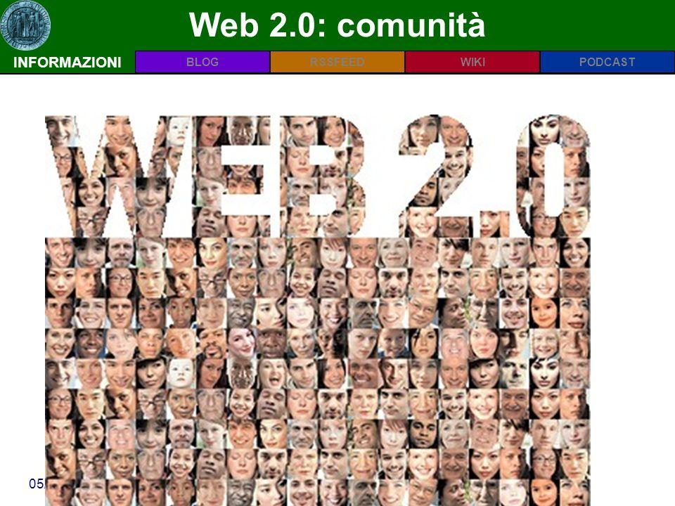 INFORMAZIONIPODCASTBLOGWIKIRSSFEED 05/03/09Scuola di Dottorato in Scienze delle Produzioni Vegetali Web 2.0: comunità INFORMAZIONI