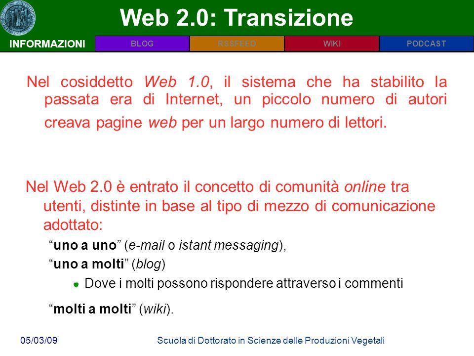 PODCASTBLOGWIKIRSSFEED 05/03/09Scuola di Dottorato in Scienze delle Produzioni Vegetali Web 2.0: Transizione INFORMAZIONI Nel cosiddetto Web 1.0, il sistema che ha stabilito la passata era di Internet, un piccolo numero di autori creava pagine web per un largo numero di lettori.
