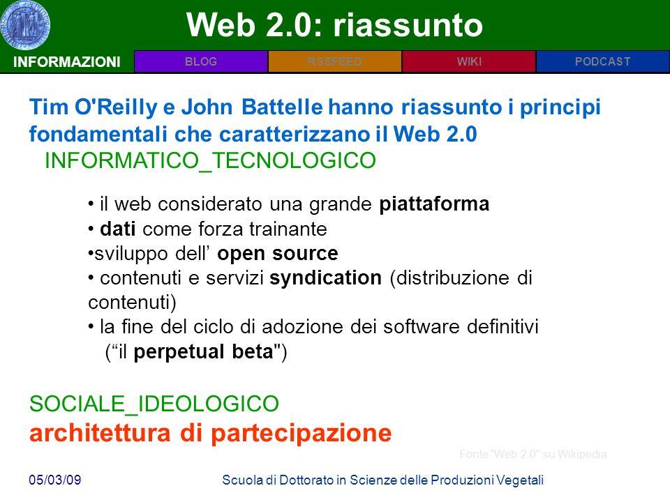 INFORMAZIONIPODCASTBLOGWIKIRSSFEED 05/03/09Scuola di Dottorato in Scienze delle Produzioni Vegetali Web 2.0: riassunto INFORMAZIONI Tim O Reilly e John Battelle hanno riassunto i principi fondamentali che caratterizzano il Web 2.0 INFORMATICO_TECNOLOGICO il web considerato una grande piattaforma dati come forza trainante sviluppo dell open source contenuti e servizi syndication (distribuzione di contenuti) la fine del ciclo di adozione dei software definitivi (il perpetual beta ) SOCIALE_IDEOLOGICO architettura di partecipazione Fonte Web 2.0 su Wikipedia