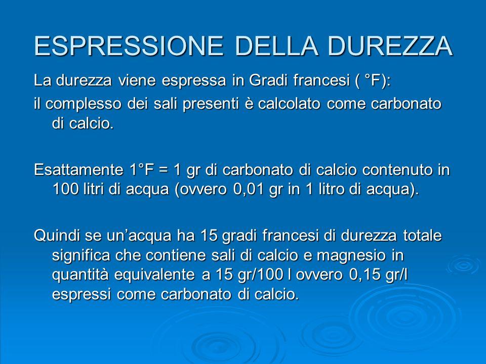 ESPRESSIONE DELLA DUREZZA La durezza viene espressa in Gradi francesi ( °F): il complesso dei sali presenti è calcolato come carbonato di calcio. Esat
