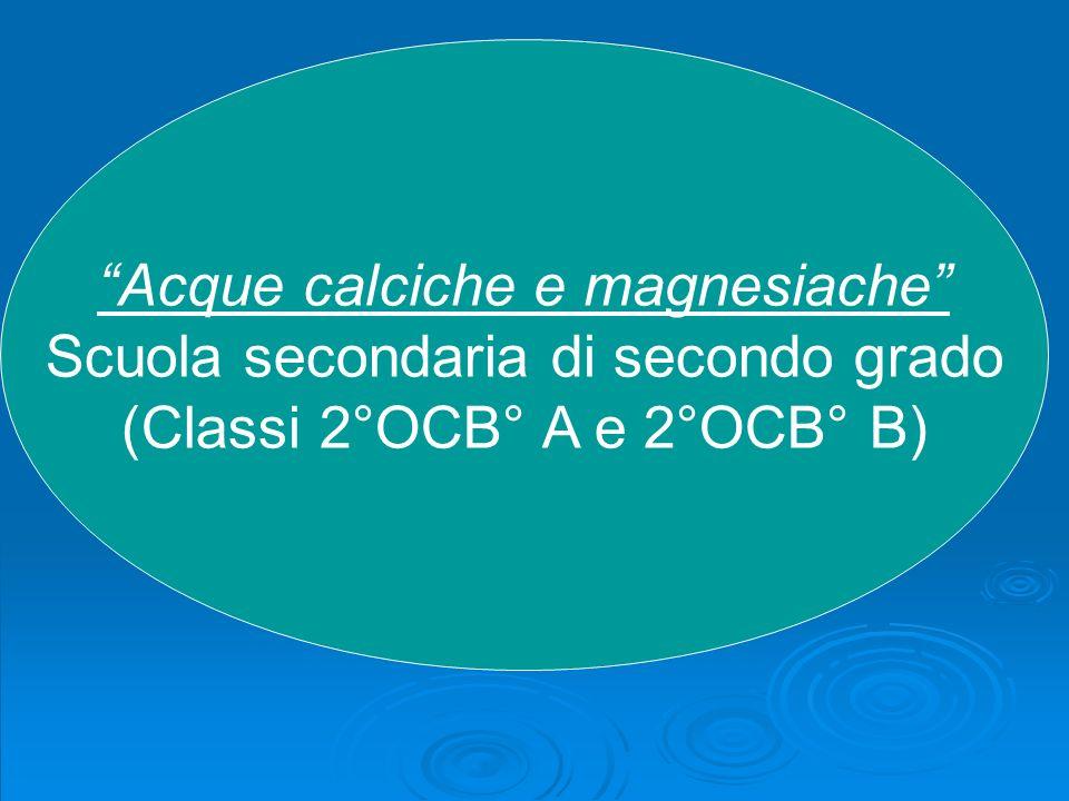 Acque calciche e magnesiache Scuola secondaria di secondo grado (Classi 2°OCB° A e 2°OCB° B)