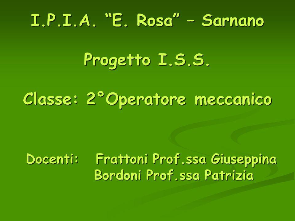 I.P.I.A. E. Rosa – Sarnano Progetto I.S.S. Classe: 2°Operatore meccanico Docenti: Frattoni Prof.ssa Giuseppina Bordoni Prof.ssa Patrizia