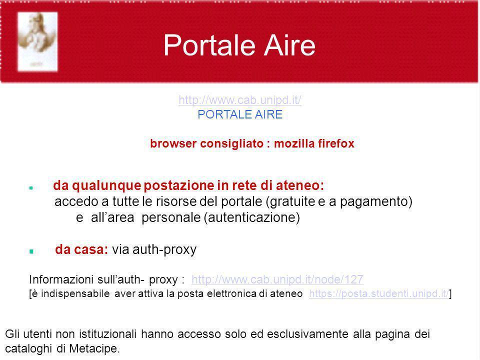 http://www.cab.unipd.it/ PORTALE AIRE browser consigliato : mozilla firefox da qualunque postazione in rete di ateneo: accedo a tutte le risorse del p