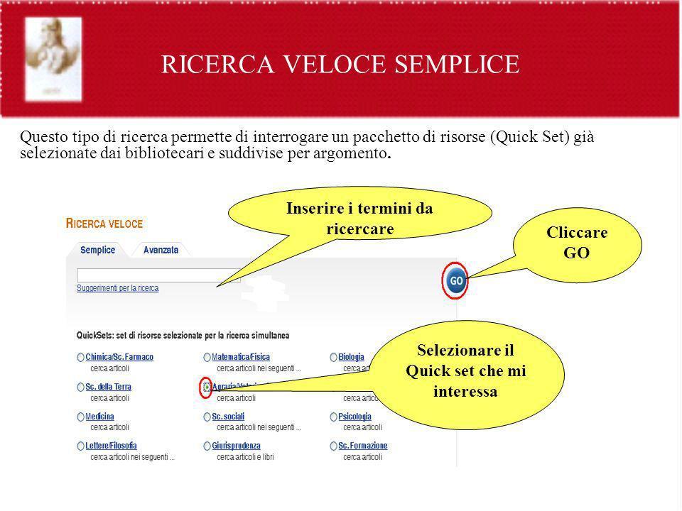 RICERCA VELOCE SEMPLICE Questo tipo di ricerca permette di interrogare un pacchetto di risorse (Quick Set) già selezionate dai bibliotecari e suddivis
