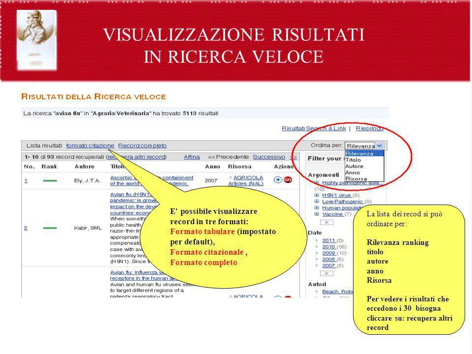VISUALIZZAZIONE RISULTATI IN RICERCA VELOCE E' possibile visualizzare record in tre formati: Formato tabulare (impostato per default), Formato citazio