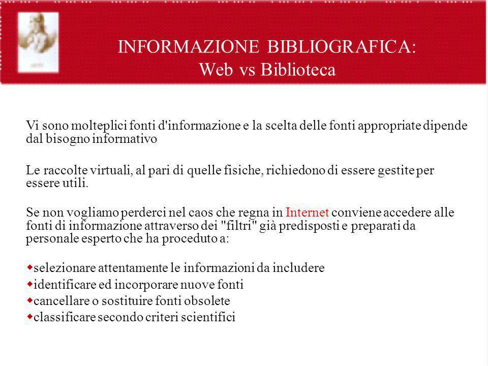 INFORMAZIONE BIBLIOGRAFICA: Web vs Biblioteca Vi sono molteplici fonti d'informazione e la scelta delle fonti appropriate dipende dal bisogno informat