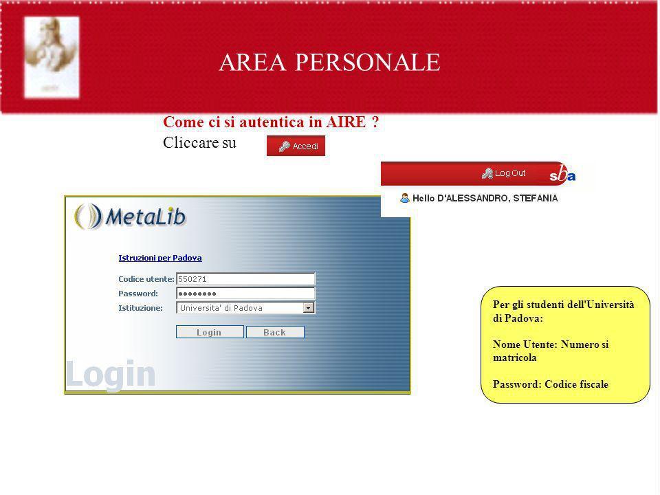 AREA PERSONALE Come ci si autentica in AIRE ? Cliccare su Per gli studenti dell'Università di Padova: Nome Utente: Numero si matricola Password: Codic