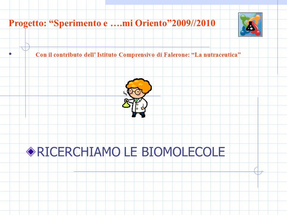 RICERCHIAMO LE BIOMOLECOLE Progetto: Sperimento e ….mi Oriento2009//2010 Con il contributo dell Istituto Comprensivo di Falerone: La nutraceutica