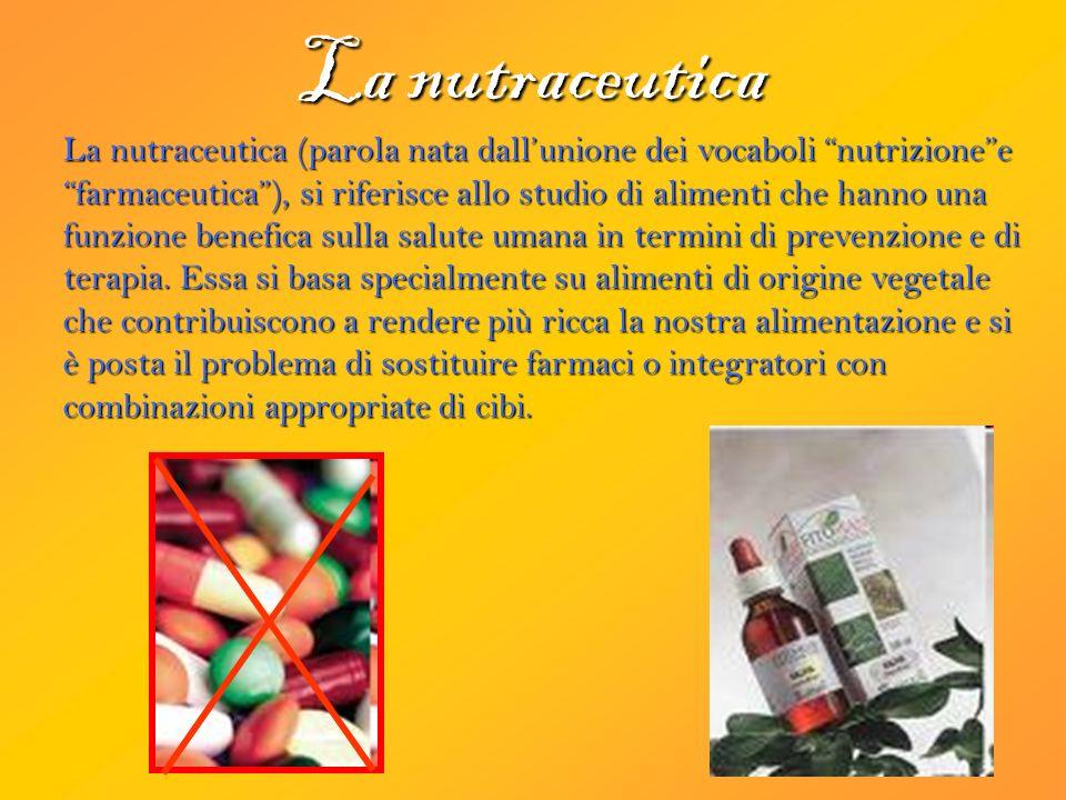 La nutraceutica La nutraceutica (parola nata dallunione dei vocaboli nutrizionee farmaceutica), si riferisce allo studio di alimenti che hanno una funzione benefica sulla salute umana in termini di prevenzione e di terapia.
