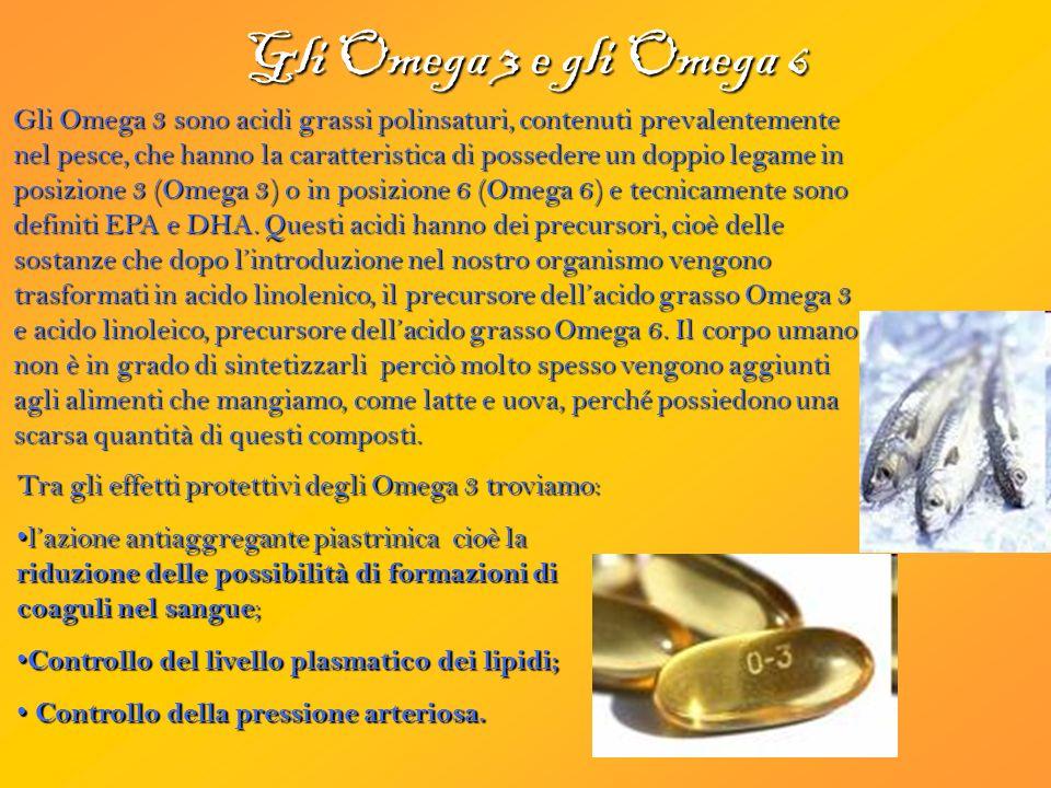 Gli Omega 3 e gli Omega 6 Gli Omega 3 sono acidi grassi polinsaturi, contenuti prevalentemente nel pesce, che hanno la caratteristica di possedere un doppio legame in posizione 3 (Omega 3) o in posizione 6 (Omega 6) e tecnicamente sono definiti EPA e DHA.