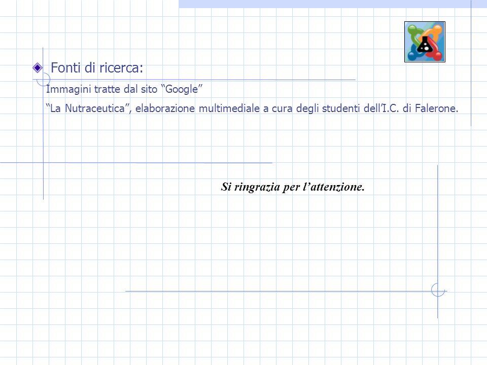 Fonti di ricerca: Immagini tratte dal sito Google La Nutraceutica, elaborazione multimediale a cura degli studenti dellI.C.